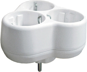 """Разветвитель электрический """"UNIVERSAL"""", 3 гнезда, с заземлением, 16А 250 В, круглый, белый"""