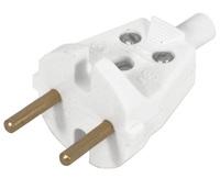 Вилка электрическая В6-001 без заземления, белая 10 А